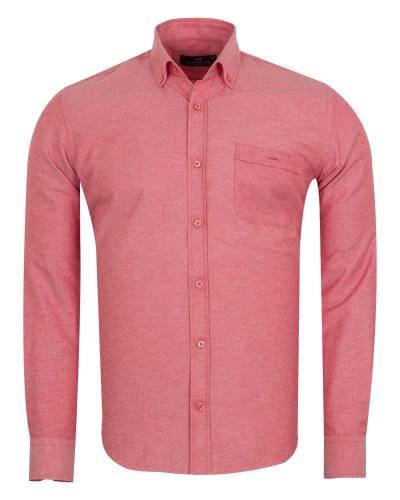 MAKROM - Luxury Textured Long Sleeved Shirt with Necktie Set SL 7123K (Thumbnail - )