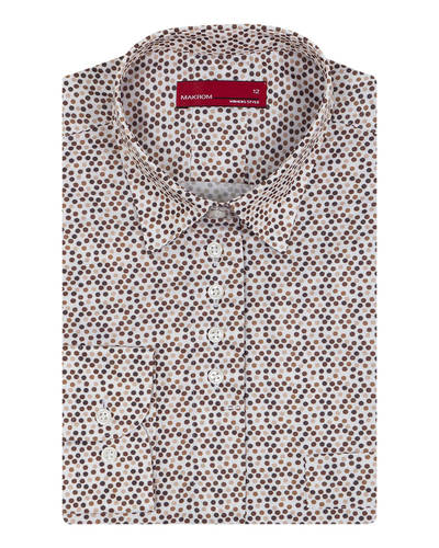 MAKROM - Luxury Thick Polka Dot Printed Womens Shirt LL 3308