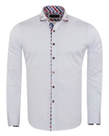 Double Collar Plain Long Sleeved Mens Shirt with Inside Details SL 7009 - Thumbnail