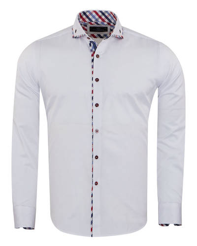 Oscar Banks - Double Collar Plain Long Sleeved Mens Shirt with Inside Details SL 7009