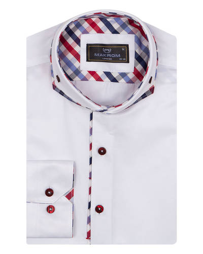 Oscar Banks - Double Collar Plain Long Sleeved Mens Shirt with Inside Details SL 7009 (1)