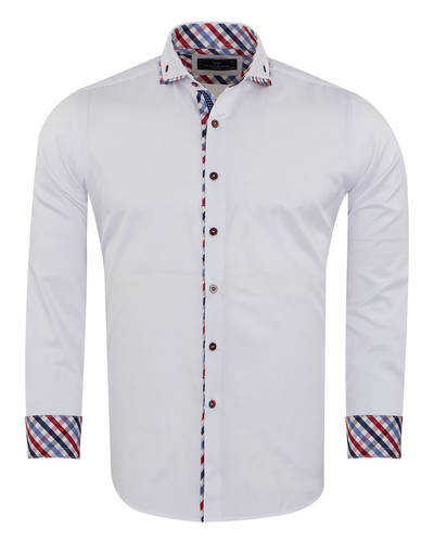 Double Collar Plain Long Sleeved Mens Shirt with Inside Details SL 7009
