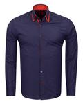 Makrom Polka Dot Printed Mens Double Collar Shirt SL 6813 - Thumbnail
