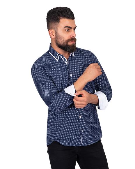 Makrom Polka Dot Printed Mens Double Collar Shirt SL 6813