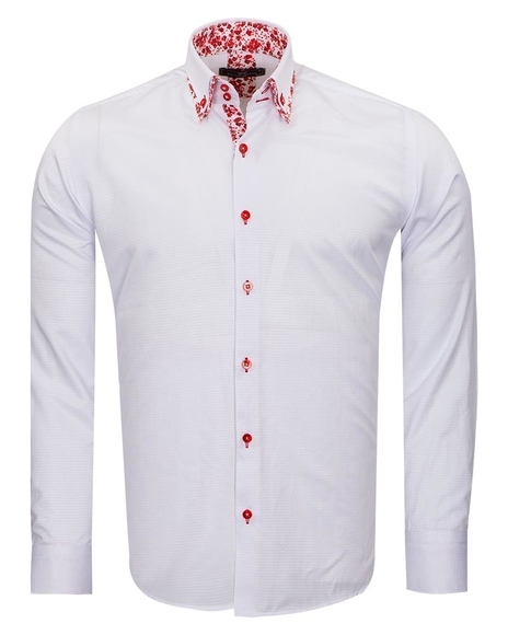 Makrom Textured Long Sleeved Plain Double Collar Mens Shirt SL 6800