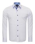 Makrom Textured Long Sleeved Plain Double Collar Mens Shirt SL 6899 - Thumbnail