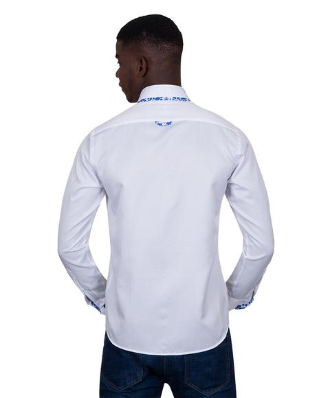 Makrom Textured Long Sleeved Plain Double Collar Mens Shirt SL 6899