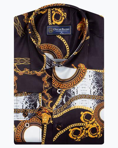 Oscar Banks - Mens Long Sleeved Black Satin Mens Shirt SL 6943 (1)