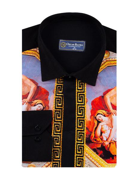Oscar Banks - Mens Long Sleeved Exclusive Printed Shirt SL 6673 (1)