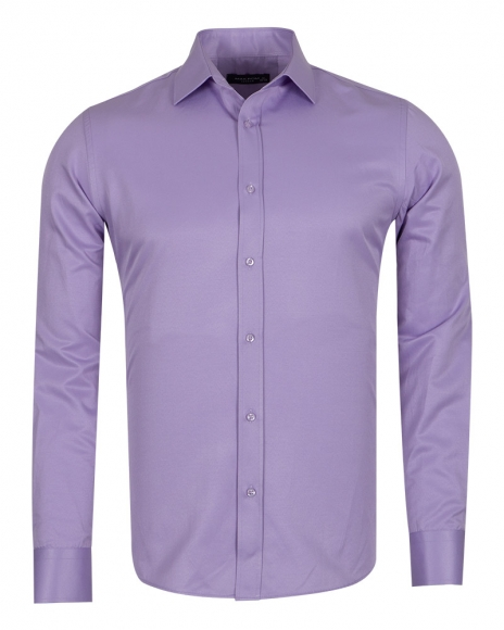 MAKROM - Mens Long Sleeved Plain Classic Shirt SL 1050-A