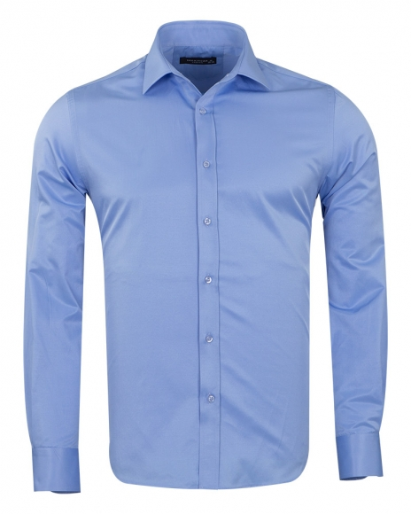 MAKROM - Mens Long Sleeved Plain Classic Shirt SL 1050-B (Thumbnail - )
