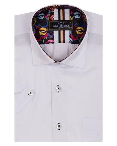 MAKROM - Mens Plain Short Sleeved Shirt With Details SS 7045