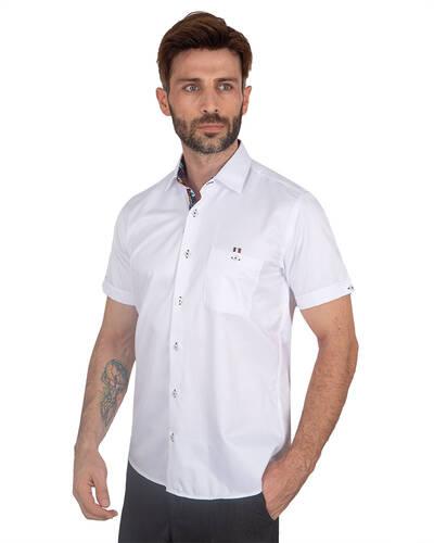 MAKROM - Mens Plain Short Sleeved Shirt With Details SS 7045 (1)