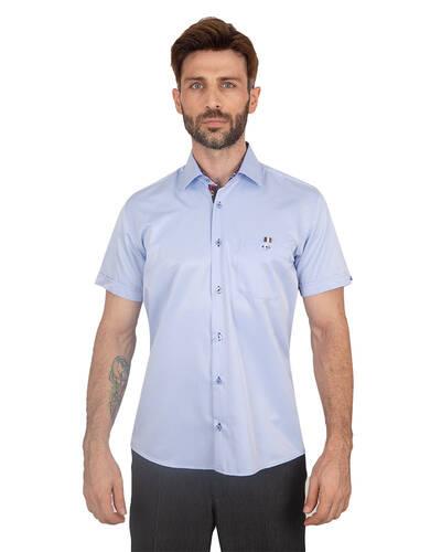 MAKROM - Mens Plain Short Sleeved Shirt With Details SS 7045 (Thumbnail - )