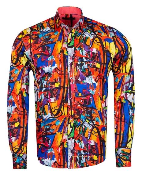 MAKROM - Printed Long Sleeved Mens Shirt SL 6926 (Thumbnail - )