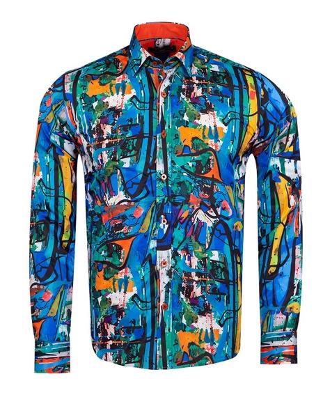 MAKROM - Printed Long Sleeved Mens Shirt SL 6926
