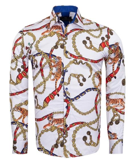 MAKROM - Printed Long Sleeved Mens Shirt SL 6966 (Thumbnail - )
