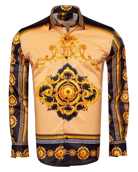 Oscar Banks - Satin Mens Shirt With Patterns Printed SL 6945