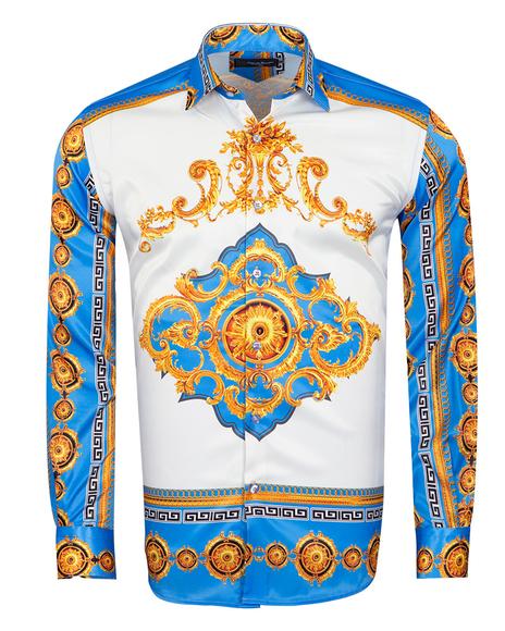 Oscar Banks - Satin Mens Shirt With Patterns Printed SL 6945 (Thumbnail - )