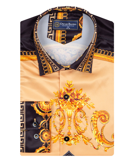 Oscar Banks - Satin Mens Shirt With Patterns Printed SL 6945 (1)