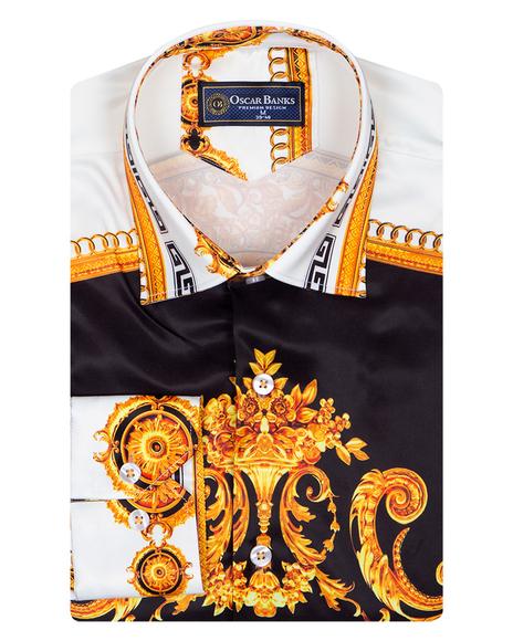 Satin Mens Shirt With Patterns Printed SL 6945