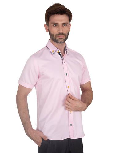 MAKROM - Mens Short Sleeved Shirt With Inside Placket Details SS 7059 (1)