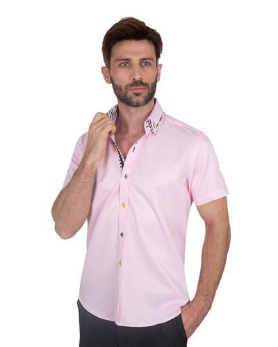 MAKROM - Mens Short Sleeved Shirt With Inside Placket Details SS 7059