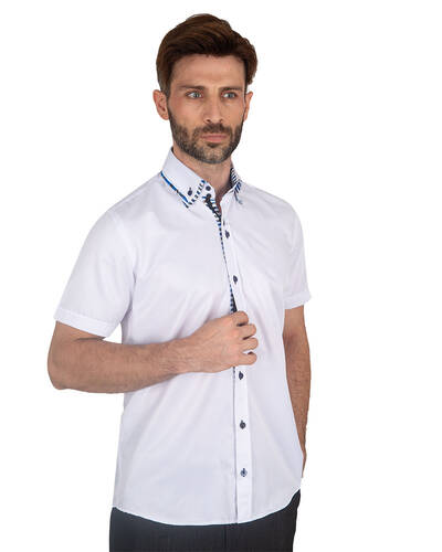 MAKROM - Mens Short Sleeved Shirt With Inside Placket Details SS 7059 (Thumbnail - )