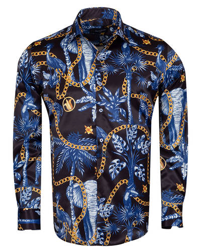 Oscar Banks - Oscar Banks Long Sleeved Satin Mens Shirt SL 6937