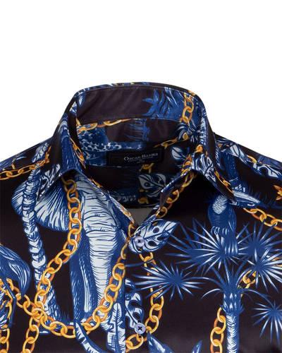 Oscar Banks Long Sleeved Satin Mens Shirt SL 6937