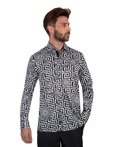 Oscar Banks - Oscar Banks Printed Mens Satin Shirt SL 7094 (1)