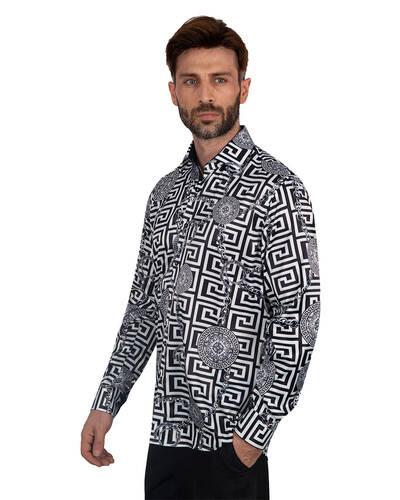 Oscar Banks - Oscar Banks Printed Mens Satin Shirt SL 7094