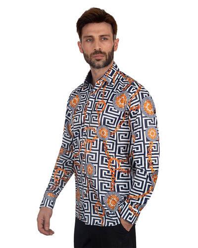 Oscar Banks - Oscar Banks Printed Mens Satin Shirt SL 7094 (Thumbnail - )