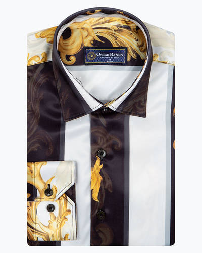 Oscar Banks - Oscar Banks Satin Mens Shirt For Mens SL 6940 (1)