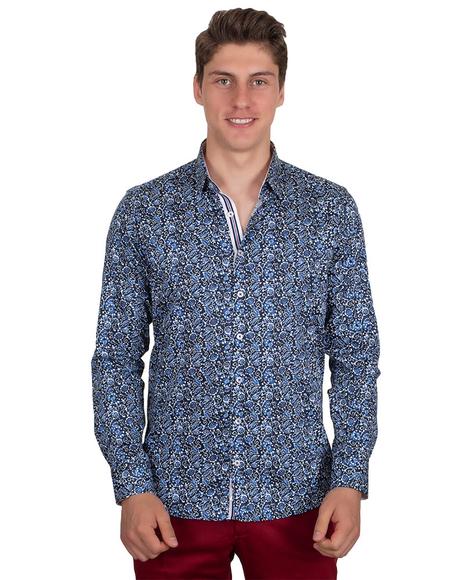 Oscar Banks - Pattern Printed Long Sleeved Pure Cotton Shirt SL 6696