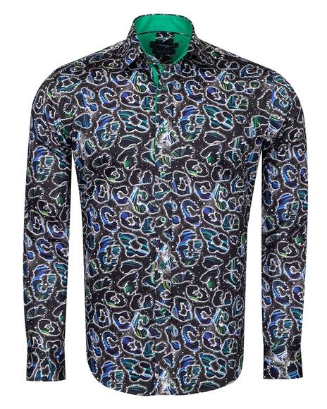 Oscar Banks - Patterned Pure Cotton Long Sleeved Shirt SL 6827