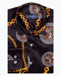 Patterns and Colors Printed Satin Mens Shirt SL 6936 - Thumbnail