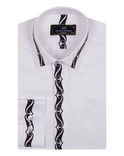 MAKROM - Patterns Printed Long Sleeved White Mens Shirt SL 6900 (1)