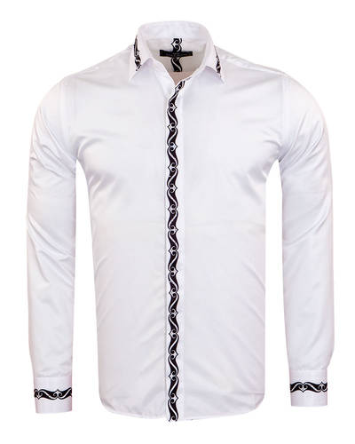 MAKROM - Patterns Printed Long Sleeved White Mens Shirt SL 6900