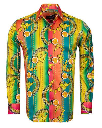 Oscar Banks - Patterns Printed Oscar Banks Satin Mens Shirt SL 6941