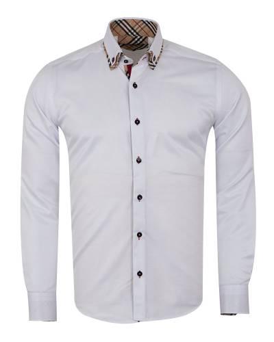MAKROM - Plain Collar Contrast Mens Shirt SL 7188