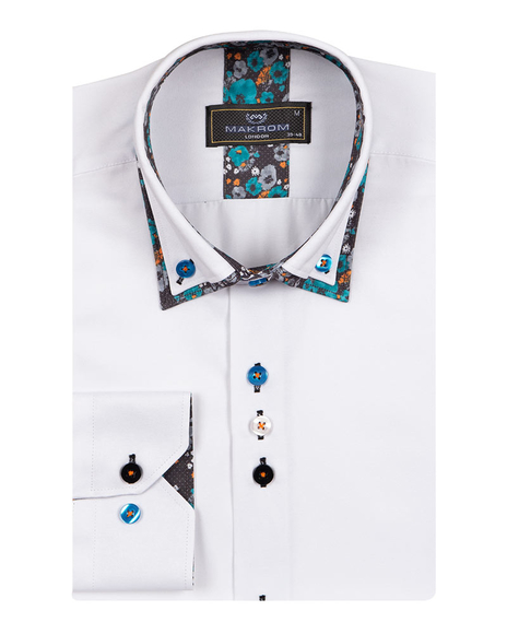 Double Collar Plain Mens Long Sleeved Mens Shirt With Details SL 6769