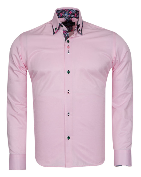 MAKROM - Double Collar Plain Mens Long Sleeved Shirt With Details SL 6769