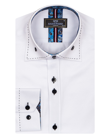 MAKROM - Plain Mens Shirt With Collar Contrast SL 6832 (1)
