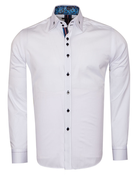 MAKROM - Plain Mens Shirt With Collar Contrast SL 6832