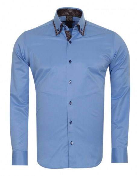 MAKROM - Double Collar Mens Shirts With Collar Contrast Cuf Insert SL 6652 (1)
