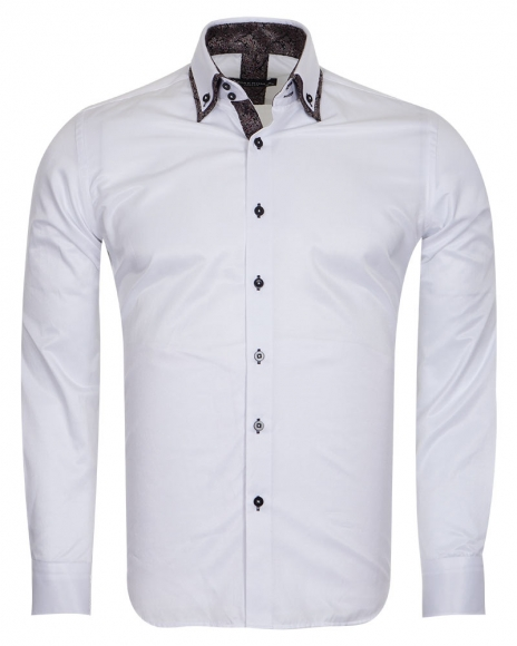 MAKROM - Double Collar Mens Shirts With Collar Contrast Cuf Insert SL 6652 (Thumbnail - )