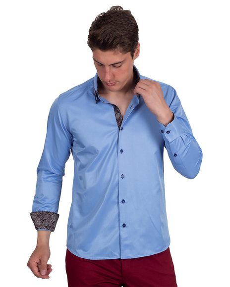 MAKROM - Double Collar Mens Shirts With Collar Contrast Cuf Insert SL 6652