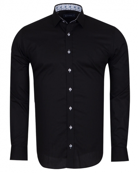 OSCAR BANKS - Plain Shirt With Details SL 6655 (Thumbnail - )
