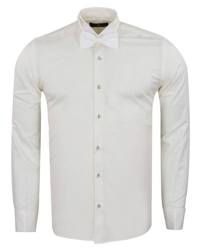 MAKROM - Plain Wing Collar Mens Shirt SL 7030